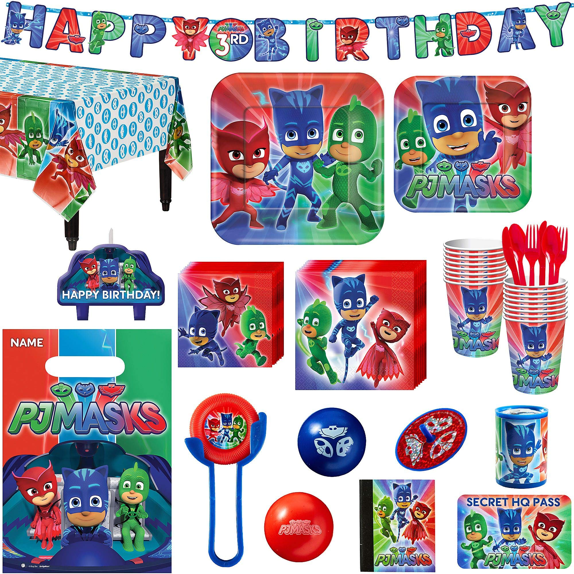 PJ Masks Birthday Party Kit, Includes Happy Birthday Banner and Party Favor Pack, Serves 16, by Party City