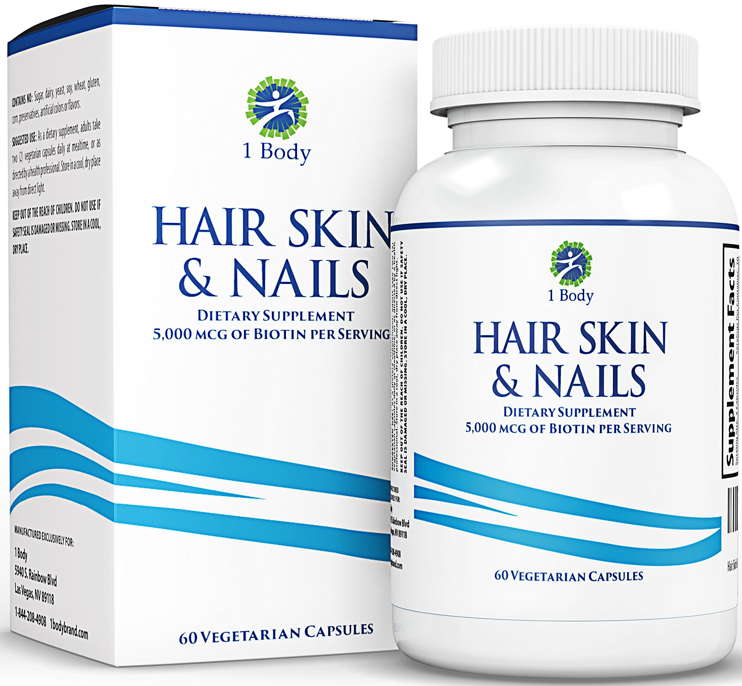 Hair, Skin, Nails Vitamins – 5000 mcg of Biotin to Make Your Hair Grow & Skin Glow with 25 Other Vitamins Nail Growth and Skin Care Formula for Men & Women