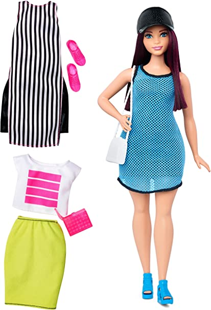 BARBIE FASHIONISTAS CURVY /& TALL SO SPORTY DOLL NEON YELLOW STRETCHY SKIRT