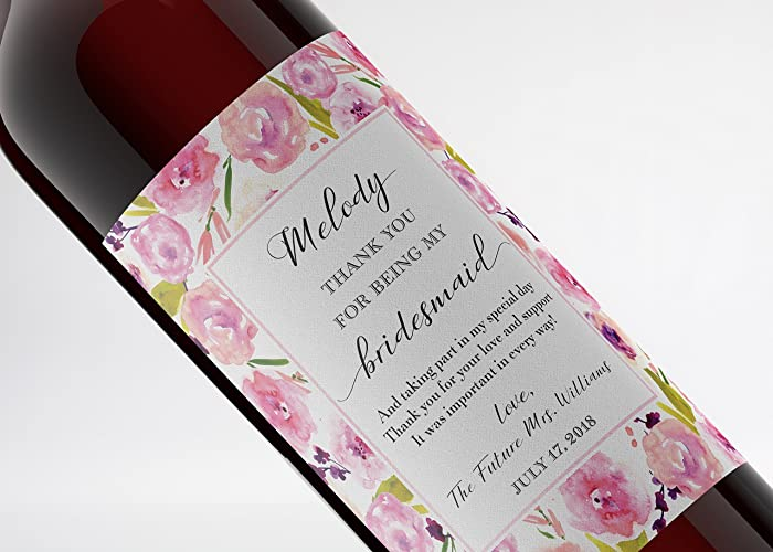 Wedding Wine Bottle Labels | Amazon Com Thank You For Being My Bridesmaid Wine Label Custom