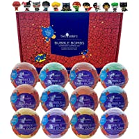 12 Superhero Bubble Bath Bombs for Kids with Surprise Toys Inside by Two Sisters Spa. Large 99% Natural Fizzies in Gift…