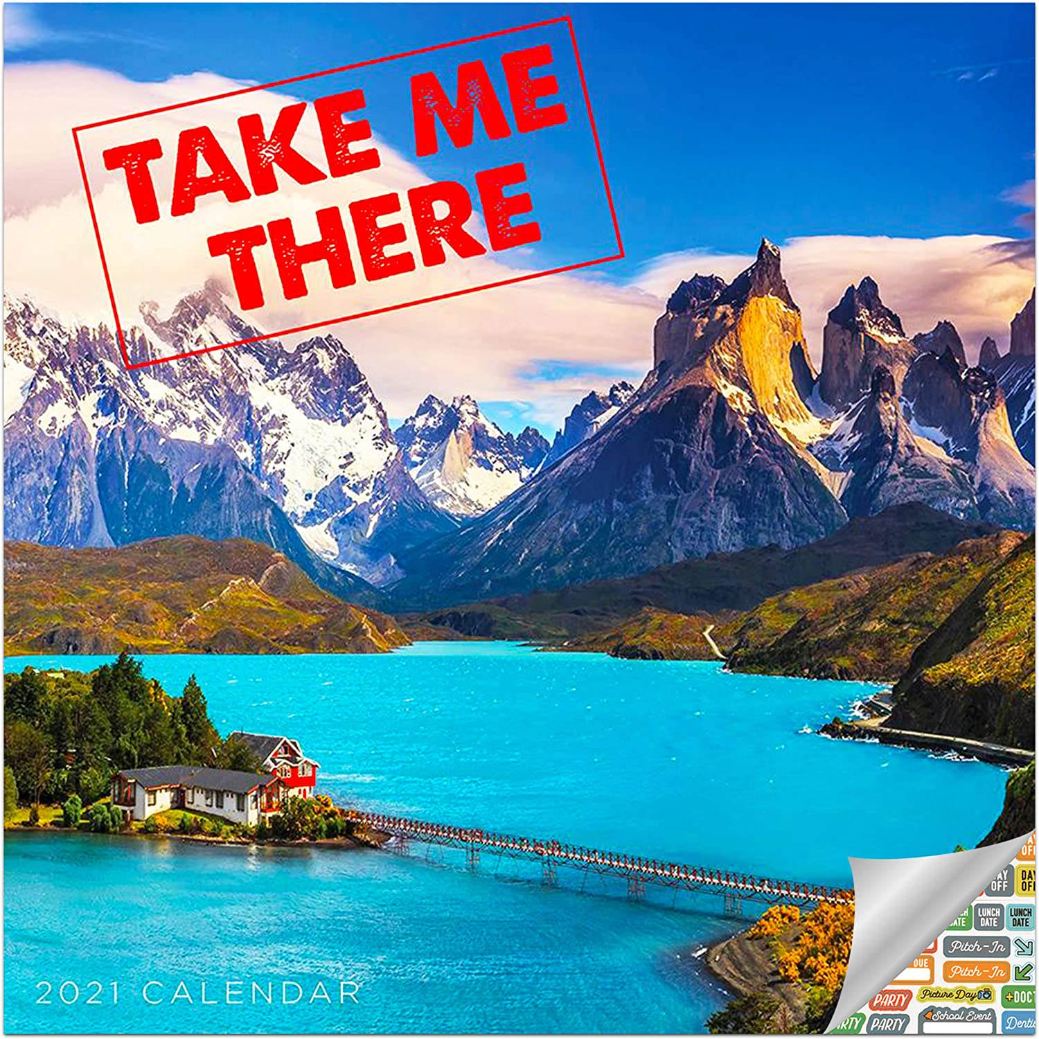 Take Me There Calendar 2021 Bundle - Deluxe 2021 Exotic Places Wall Calendar with Over 100 Calendar Stickers (Travel Gifts, Office Supplies)