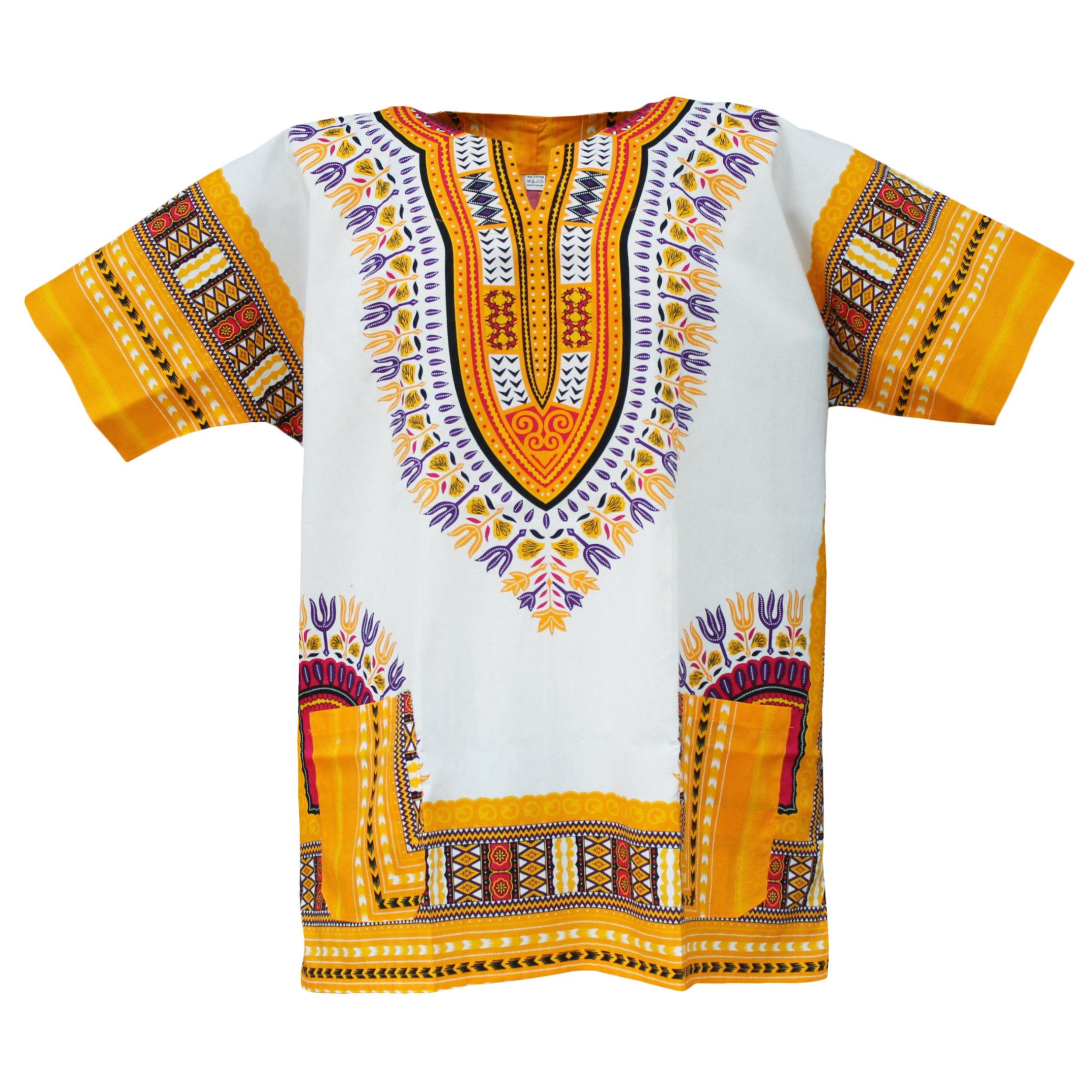 PAGADA Dashiki African Shirts Tribal Caftan Style Traditional Several Colors. (X-Large, White.Light Yellow)