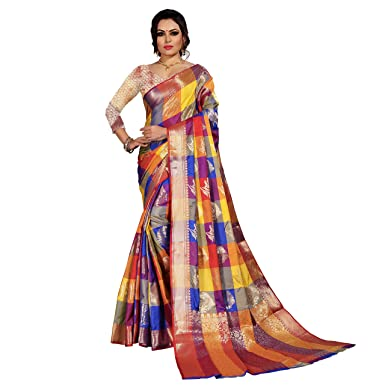de404d8fd1 Image Unavailable. Image not available for. Colour: Jay Fashion New  Collection Chekered Zari Work Banarasi Silk Saree ...