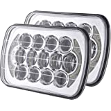 105W Pair DOT Approved 5''x7'' 6''x7'' Osram Chrome Projector Led Headlights with High/Low Beam and DRL for Jeep Wrangler YJ Cherokee XJ H6054 H5054 H6054LL 69822 6052 6053