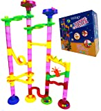 """ONE DAY SALE!!! Marble Run Coaster 55 BIG Elements Kit. 40 Building Blocks+15 Plastic Marbles.110"""" Tracks length Genius Fun Set Learning Railway Construction. Classic DIY Toy for Family"""
