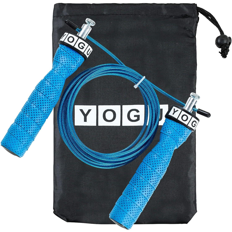 YOGU スピード縄跳びロープ 調節可能な縄跳び 二重跳びに最適 エクササイズ クロスフィット フィットネス エクササイズ 減量 WOD MMA ボクシングトレーニングロープ  ブルー B07LCSCRML