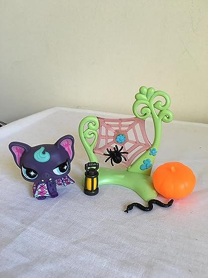littlest cutest pet shop vampire bat purple aqua eyes lps custom halloween accessory set authentic