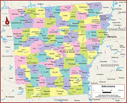Amazon.com : 36 x 29 Arkansas State Wall Map Poster with ...