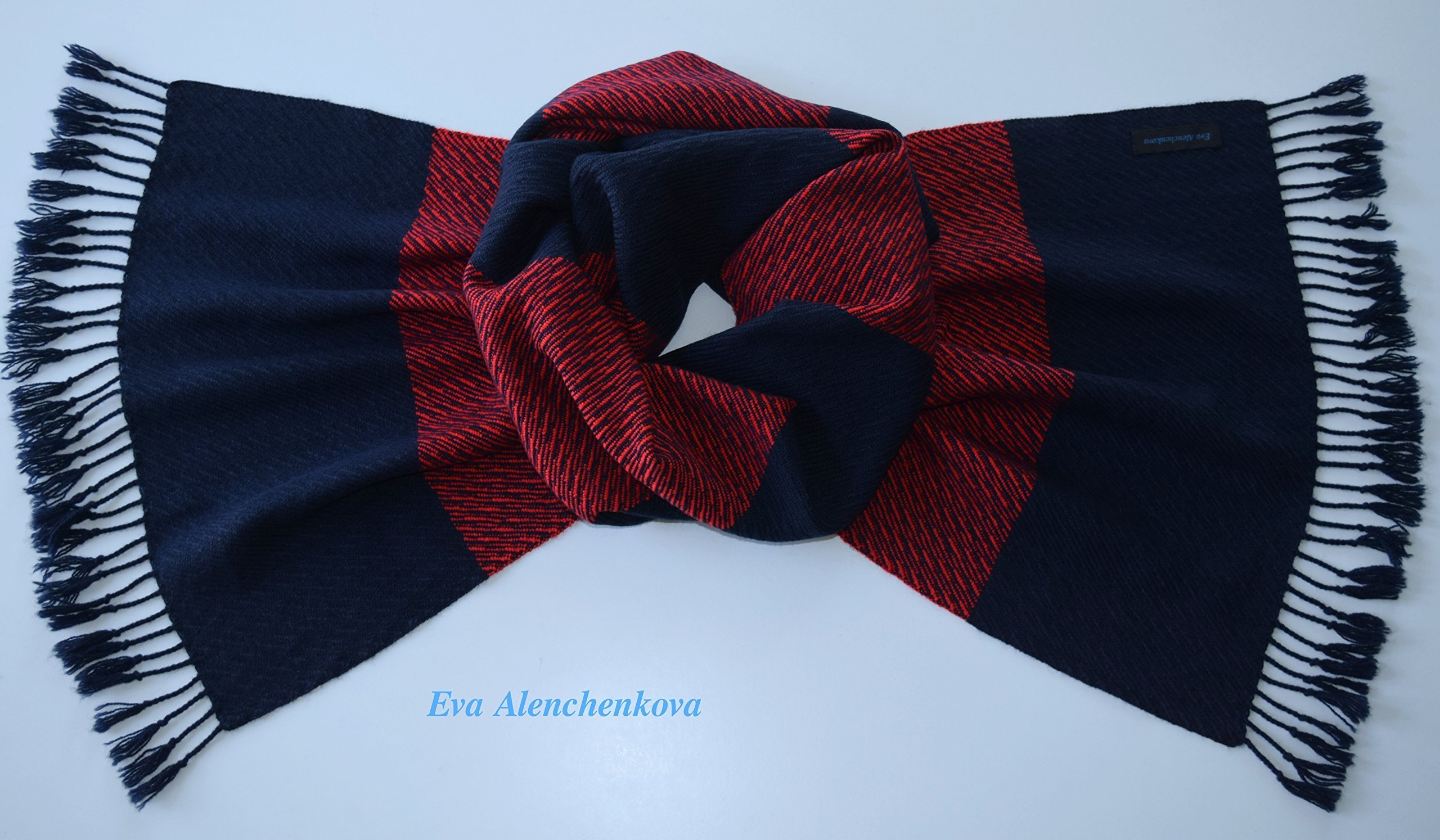 Men's Red Blue Silk Cashmere Hand Woven Scarf