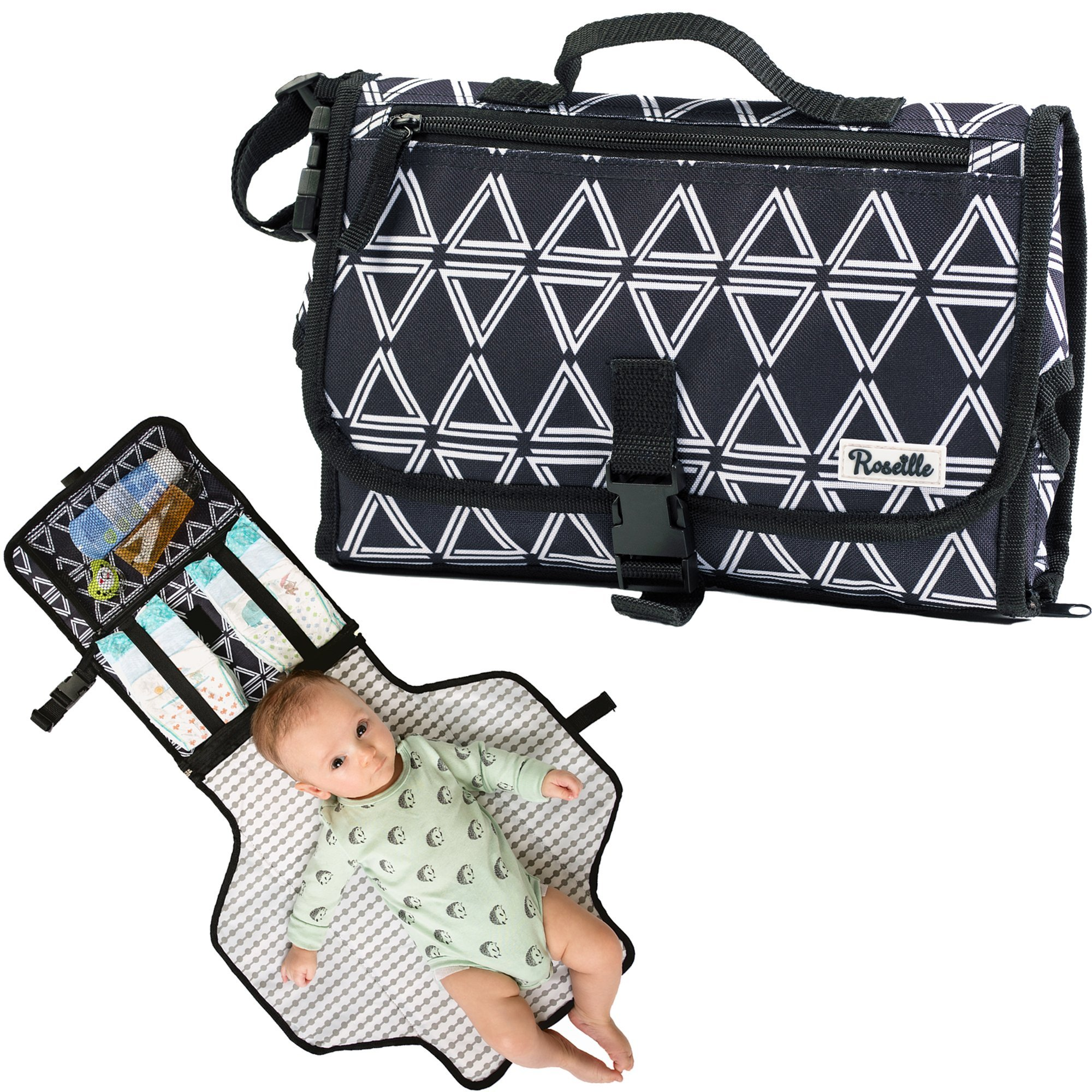 Portable Changing Pad By Roseille: Stylish Portable Changing Mat With Foam Padding & Foldable Design – Soft Wipeable Baby Changing Pad With Pockets &Carrying Handle