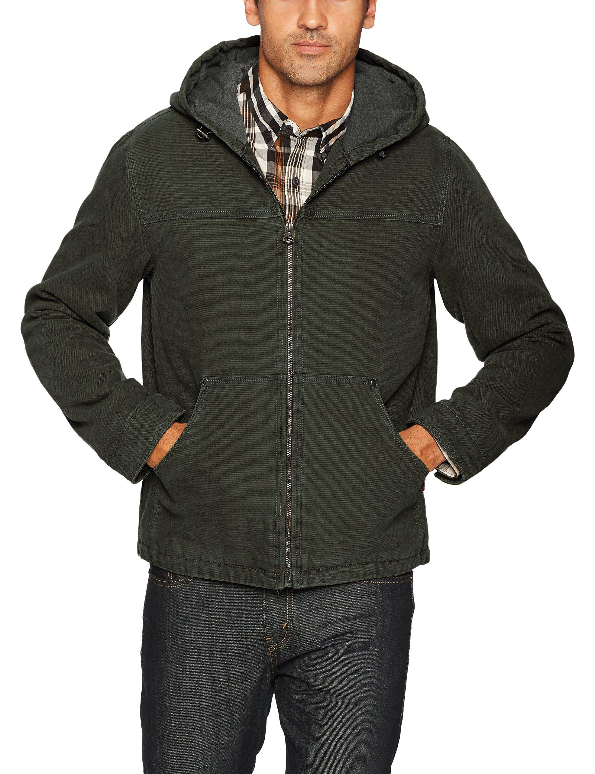 Levi's Men's Cotton Canvas Fleece Lined Hoody Jacket, Olive, X-Large