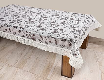 STITCHNEST - Table Cover Anti Skid, PVC, Rectangle 6 Seater, 54 X 78 Inches, Black and White Table Cover, Pack of 1