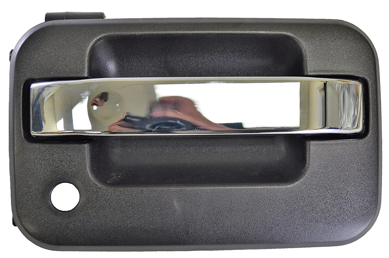Outside Exterior Outer Door Handle Passenger Side Front Textured Black with Chrome Lever with Key Hole PT Auto Warehouse FO-3505MA-FR