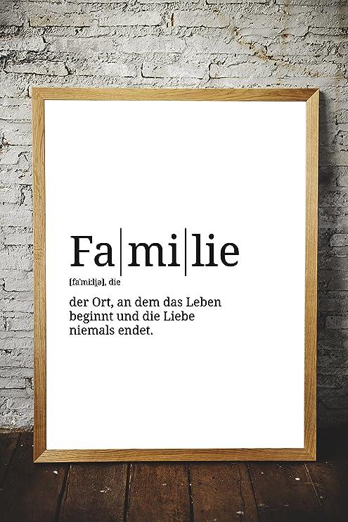 Definition Familie Din A3 Premium Spruch Poster Für Küche Wohnzimmer Oder Wg Kunstdruck Für Den Bilderrahmen