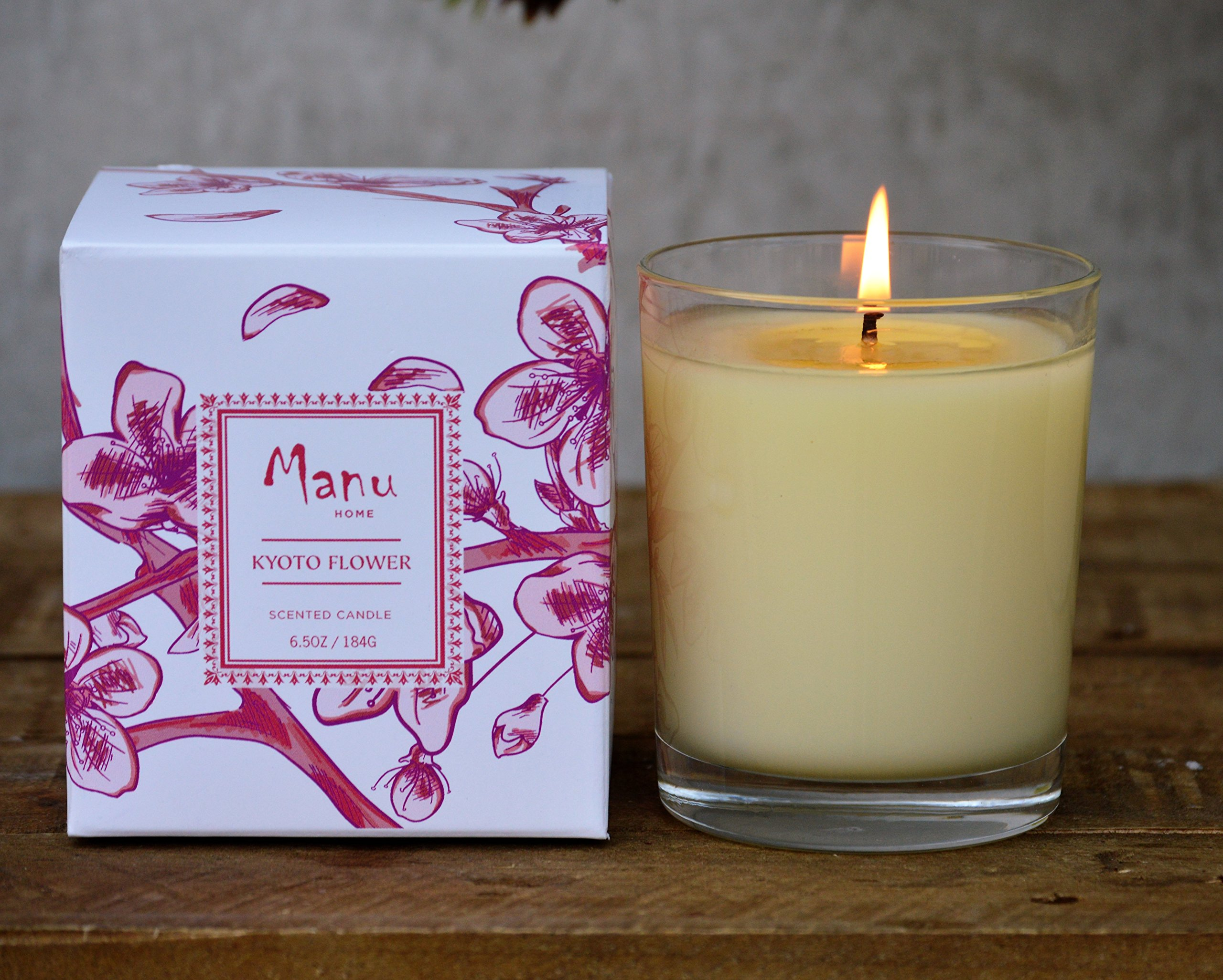 SALE~ Manu Home Kyoto Scented Candle ~ A refreshing blend of Peach Blossoms, Tea Leaves blended with notes of Amber & Jasmine. Soothing Aromatherapy relaxation scent~ 6.5oz by Manu Home
