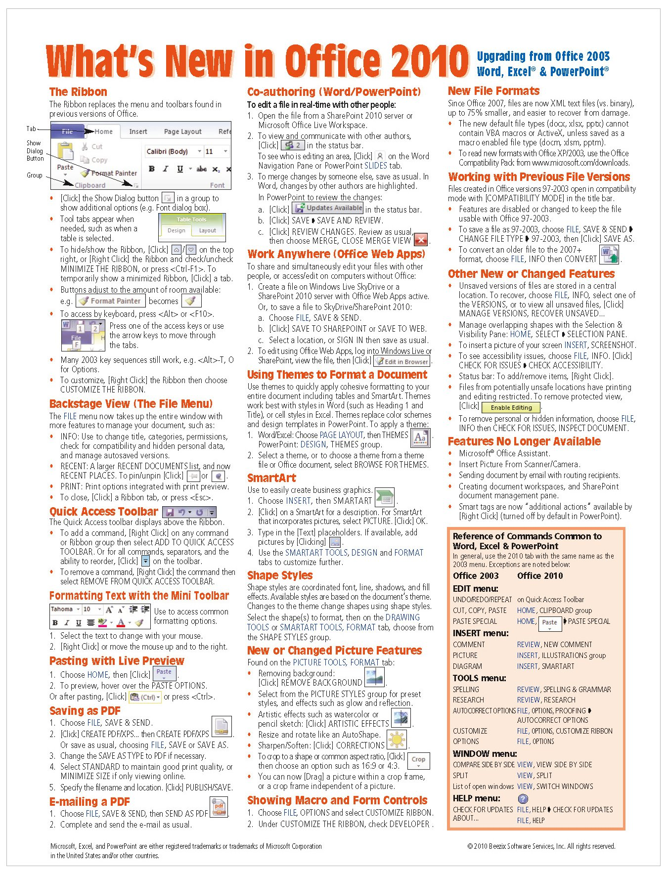 What's New in Microsoft Office 2010 (from 2003) Quick Reference Guide (Cheat Sheet of New Features & Instructions - Laminated Guide) PDF