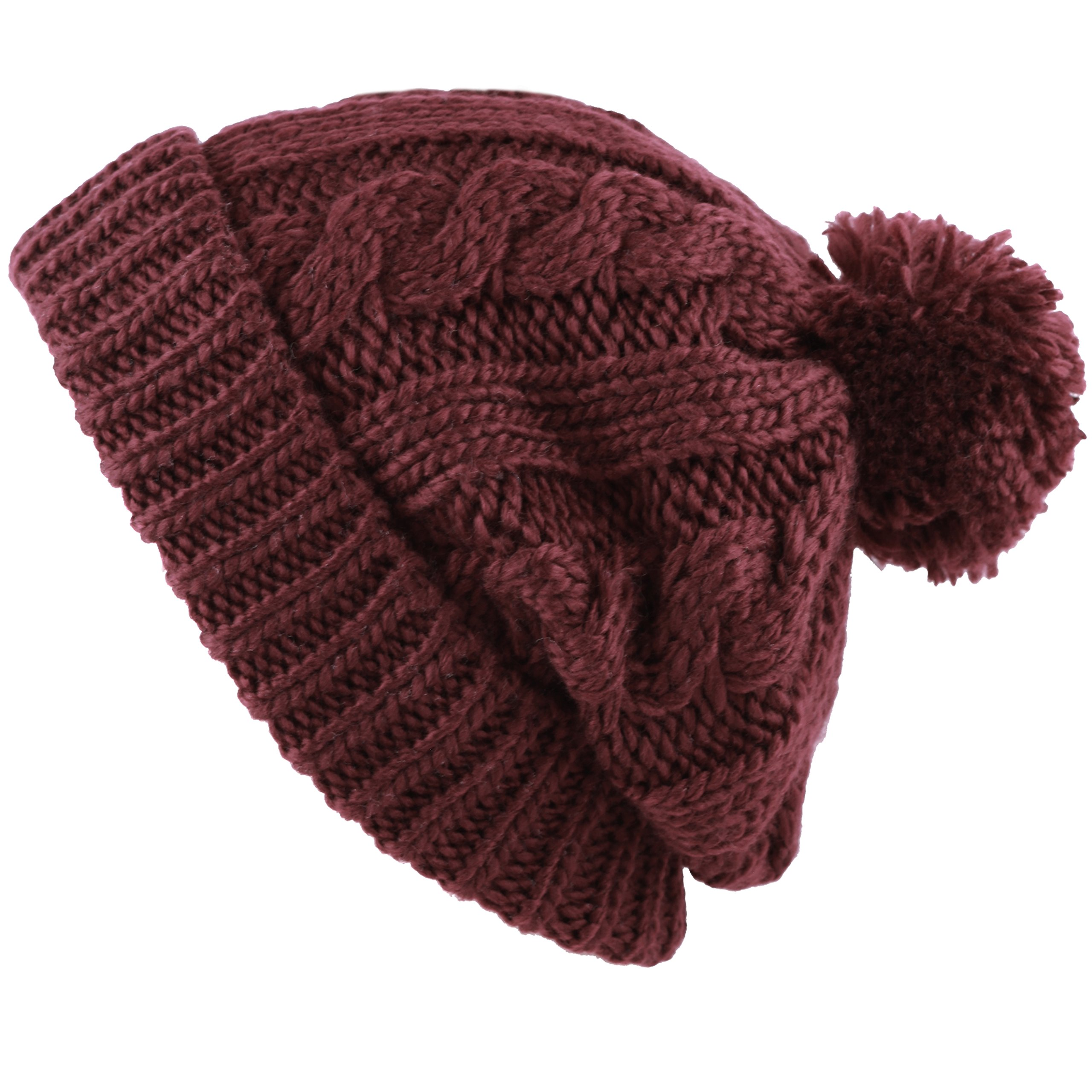 c6d65286c54 THE HAT DEPOT Winter Oversized Cable Knitted Pom Pom Beanie Hat Fleece  Lining Hat product image