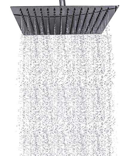 Premium Rain Shower Head 12 Inch Square Ultra Thin Luxury Spa Experience,  High Pressure