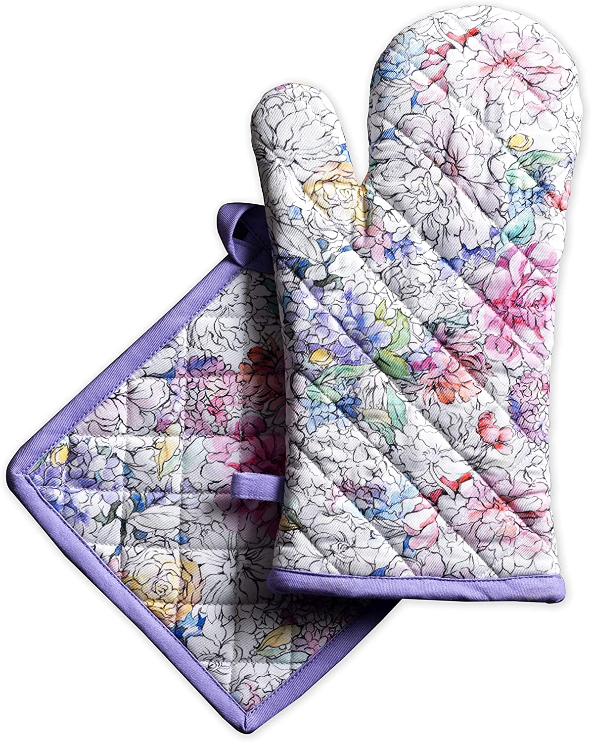 Maison d' Hermine Floral Love 100% Cotton Set of Oven Mitt (7.5 Inch by 13 Inch) and Pot Holder (8 Inch by 8 Inch).