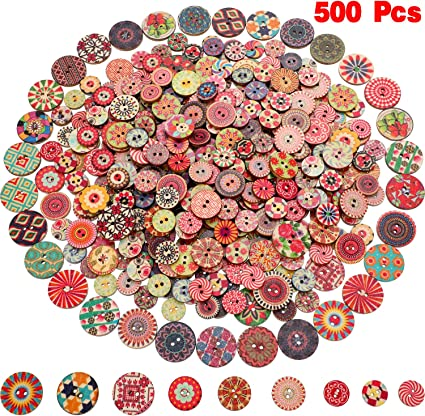 craft embelleshment, sewing 6 Light Purple Flower Design Wooden Buttons 15mm