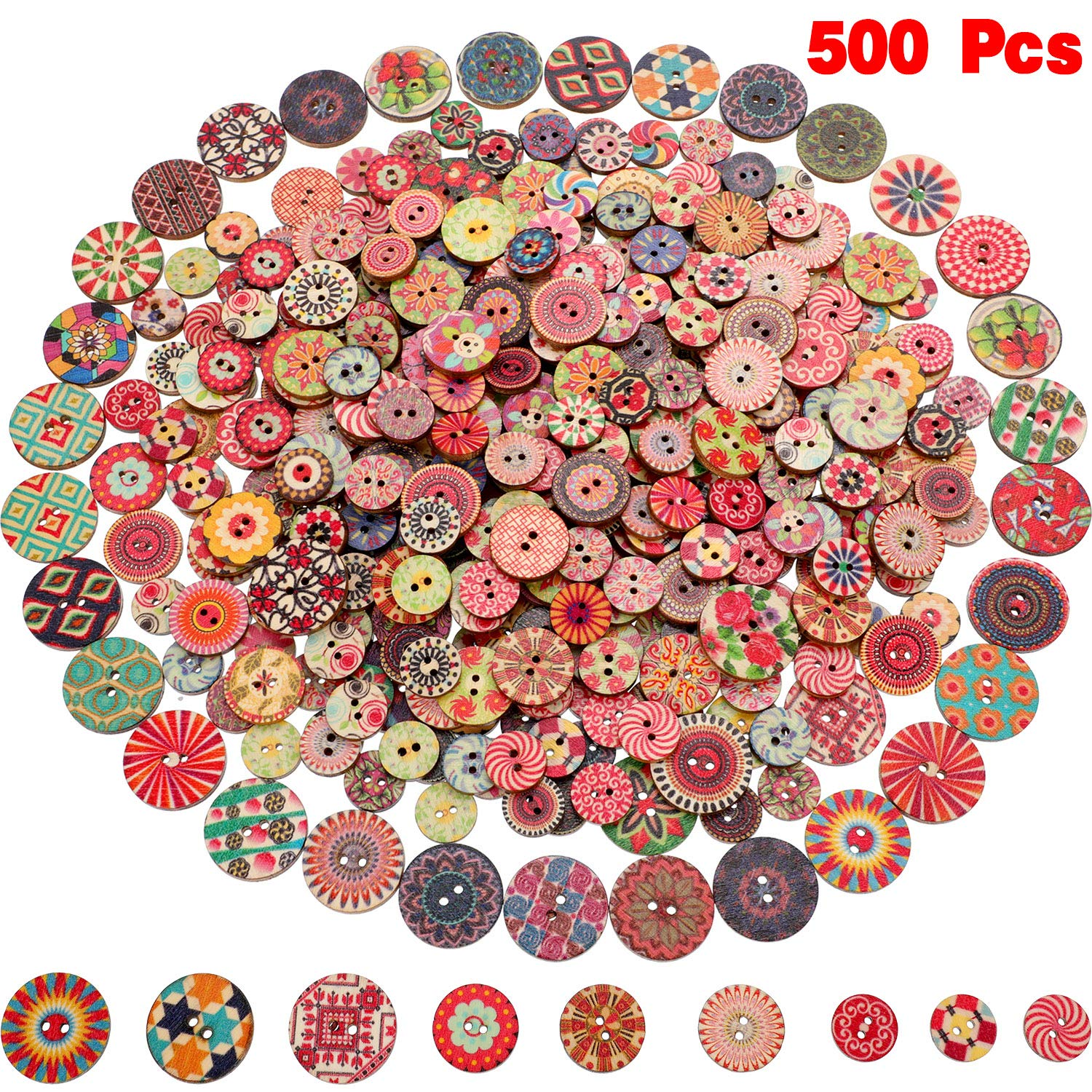 500 Pieces Flower Wood Buttons 2 Holes Round Buttons Vintage Sewing Buttons for Sewing DIY Craft Decorations by WILLBOND