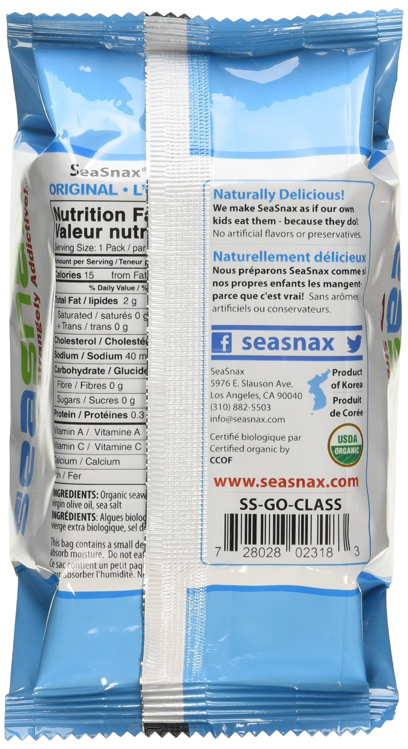 SeaSnax Organic Roasted Seaweed Snack Grab and Go, Original, 0.18 Ounce (Pack of 24) by SeaSnax (Image #5)