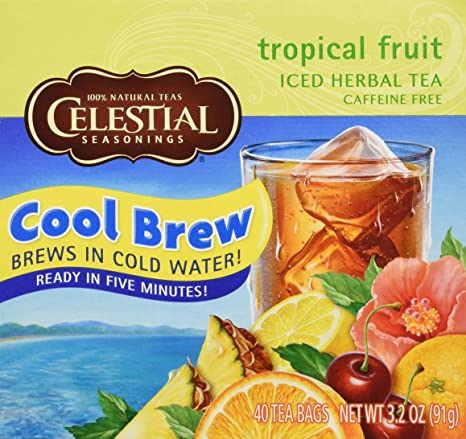Celestial Seasonings Tropical Fruit Cool Brew Herbal Tea Bags, 40 ct 3.2 oz