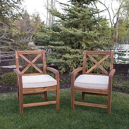 de0f291b246d Amazon.com: WE Furniture AZWXB2BR Outdoor Dining Set, Set of 2, Brown:  Garden & Outdoor