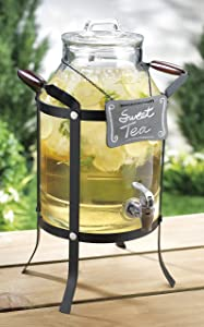 3 Gallon Classic Chalk Board Ice Cold Clear Glass Beverage Dispenser With Lid & Spigot & Metal Caddy With Handles- For Home, Outdoor, Parties, & Daily Use