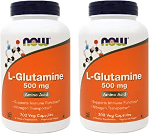 Now L-Glutamine 500 mg, 300 Vegan Capsules (Pack of 2)