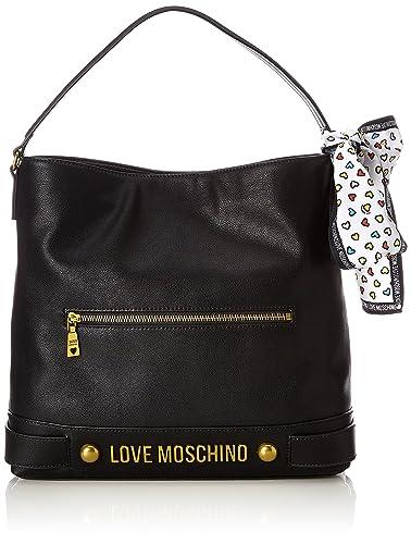 Moschino Nappa Grain Pu Nero, Sacs portés épaule femme, (Black), 10x32x36 cm (B x H T)