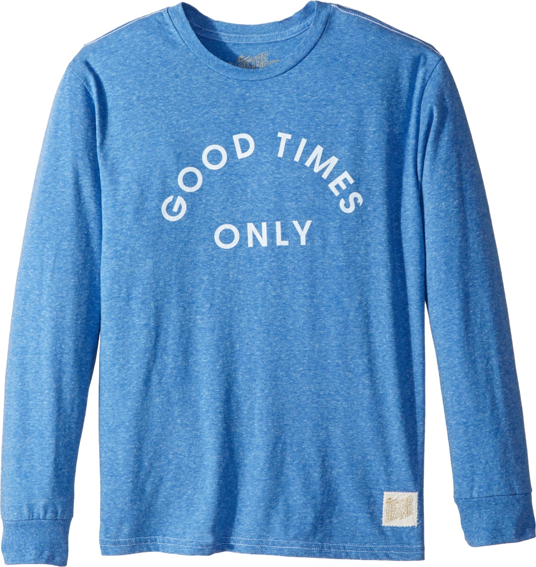 The Original Retro Brand Kids Boy's Good Times Only Long Sleeve Tri-Blend Tee (Big Kids) Streaky Royal Small