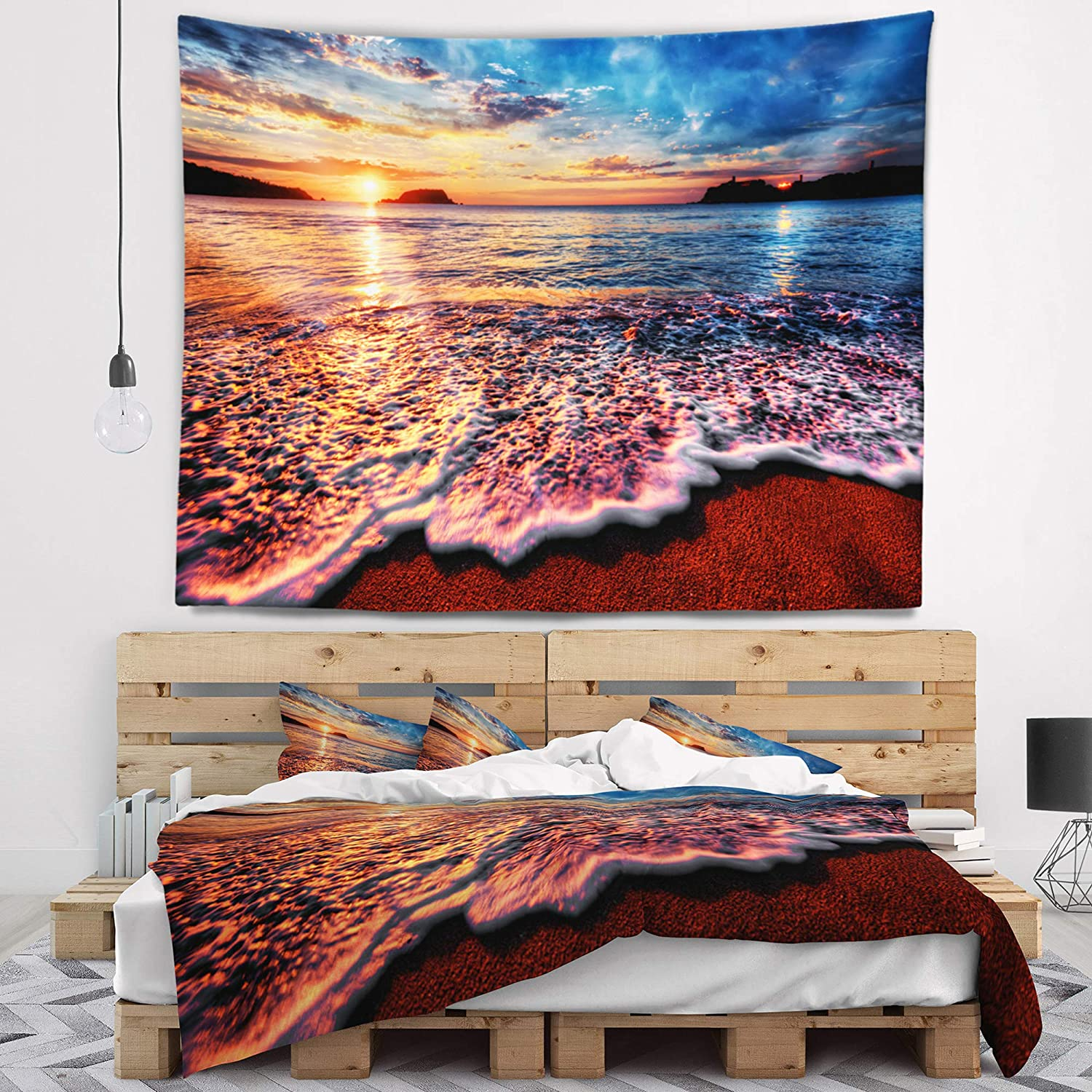 Created On Lightweight Polyester Fabric 80 In X 68 In Designart Tap10602 80 68 Peaceful Evening Beach View Seascape Blanket Décor Art For Home And Office Wall Tapestry X Large Tapestries Home Kitchen