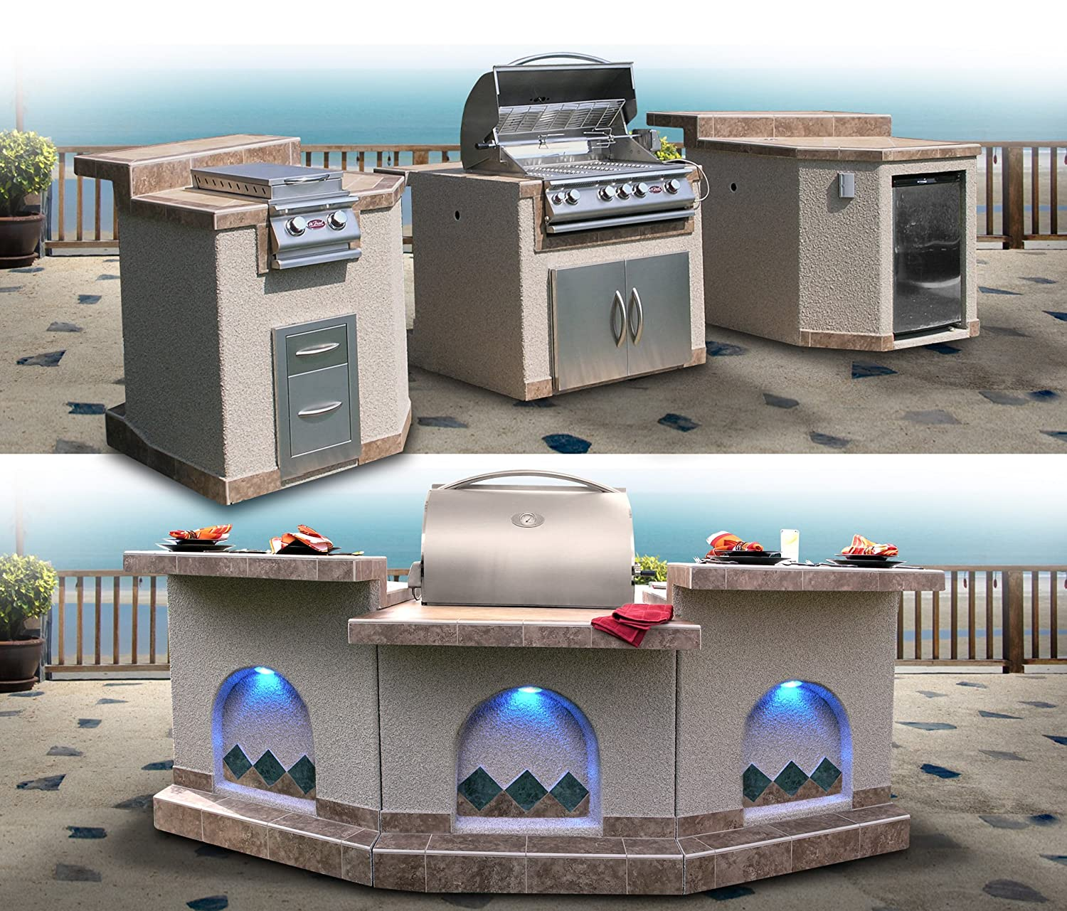 Cal Flame 3 Piece Outdoor Kitchen Island e3100 Island with 4-Burner Built in Grill, 30 Double Access Stainless Steel Door, Refrigerator with Two Tone Tile and Ameristucco Base with Lights