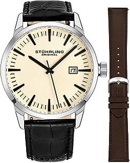 Stuhrling Original Mens Minimalist Swiss Quartz Stainless Steel Dress Wrist-Watch, Quick-Set