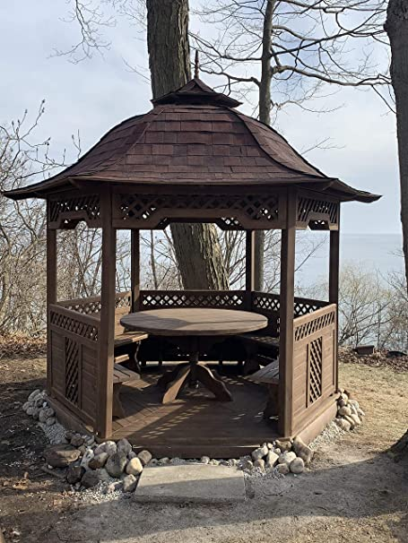 Wood Gazebo Hexagon 10 feet included Deck Bench Table finished stain free delivery installation within GTA Southern West Ontario