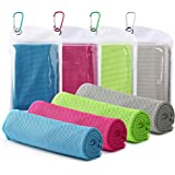 """Famiry 4 Packs Cooling Towel (40""""x 12""""), Ice Towel, Soft Breathable Chilly Towel, Microfiber Towel for Yoga, Sport…"""