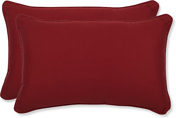2-Pack Pillow Perfect Indoor//Outdoor Red Solid Seat Cushion Squared