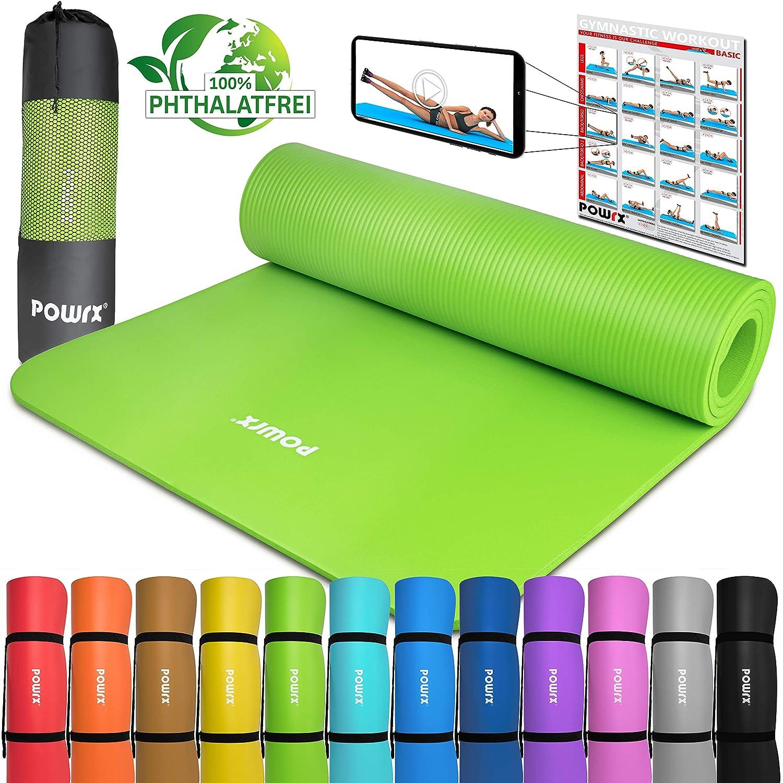 POWRX Tapis de Gymnastique avec Workout I Tapis dentrainement sans phtalates Couleurs I Tapis Doux pour la Peau I Versch 183/x 60/x 1/cm