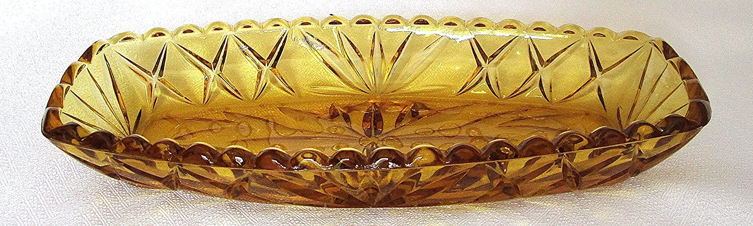 Anchor Hocking Gold Glass Relish Serving Dish