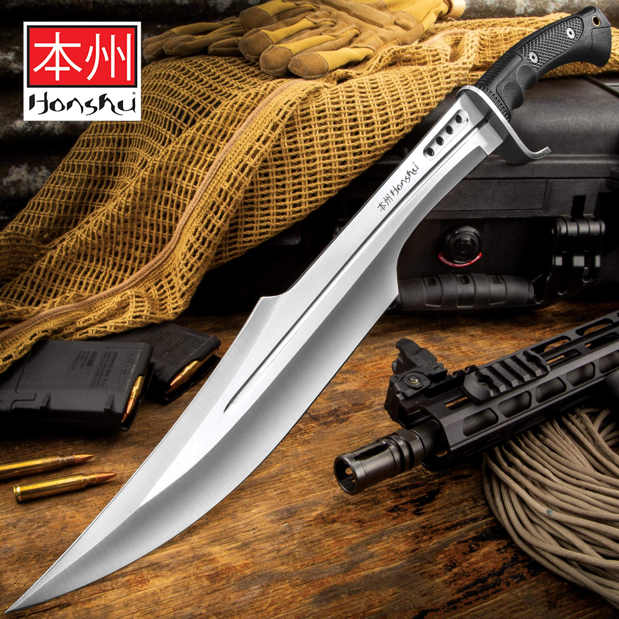 Honshu Spartan Sword and Sheath - 7Cr13 Stainless Steel Blade, Grippy TPR Handle, Stainless Steel Guard - Length 23'' by Honshu