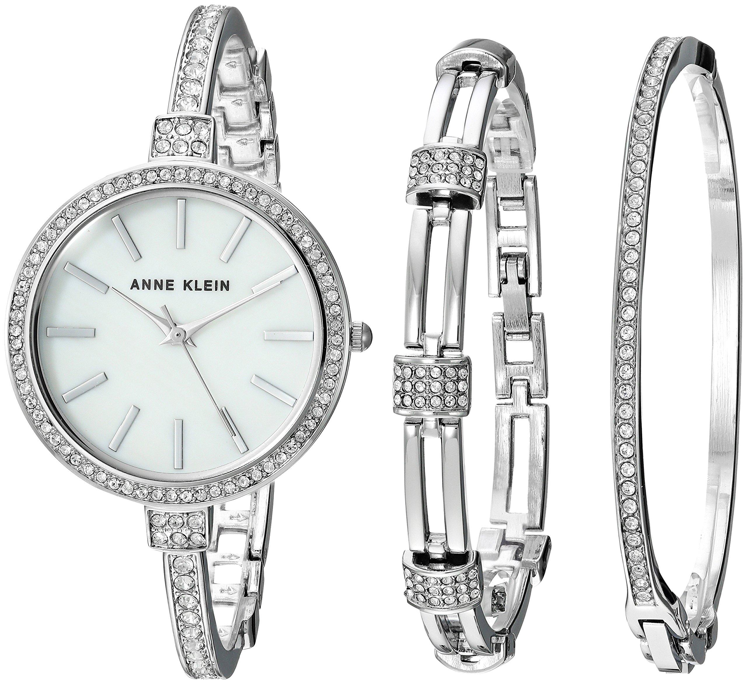 Anne Klein Women's AK/2847SVST Swarovski Crystal Accented Silver-Tone Watch and Bangle Set