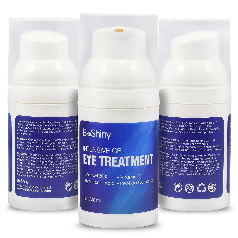 BeShiny Eye Gel crema para ojos hinchados, arrugas, ojeras, bolsas y líneas finas con ácido hialurónico, aceite de jojoba, MSM, péptidos - más eficaz crema ...