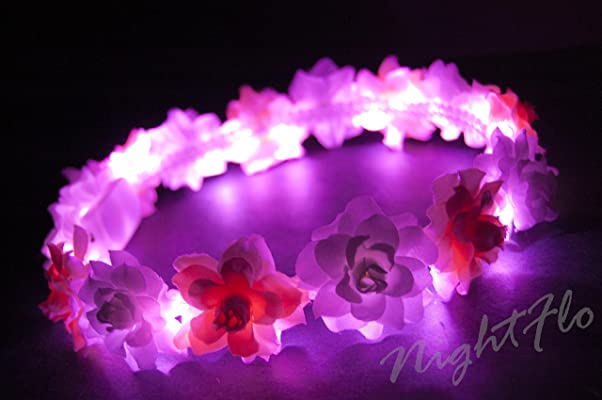 Pink and White Rose NightFlo with Pink LED ( Light Up Flower Crown)