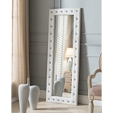 Kings Brand Furniture Modern Upholstered Tufted Standing Floor Mirror, White Vinyl
