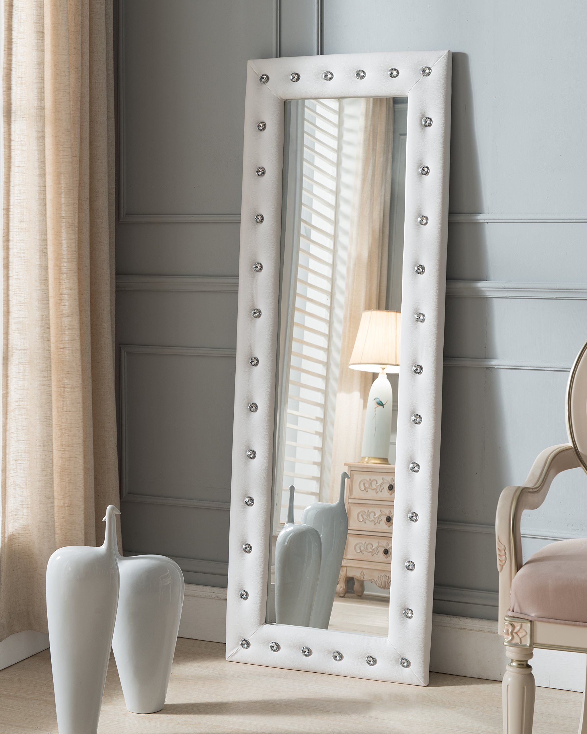 Kings Brand White Modern Upholstered Tufted Standing Floor Mirror by Kings Brand Furniture