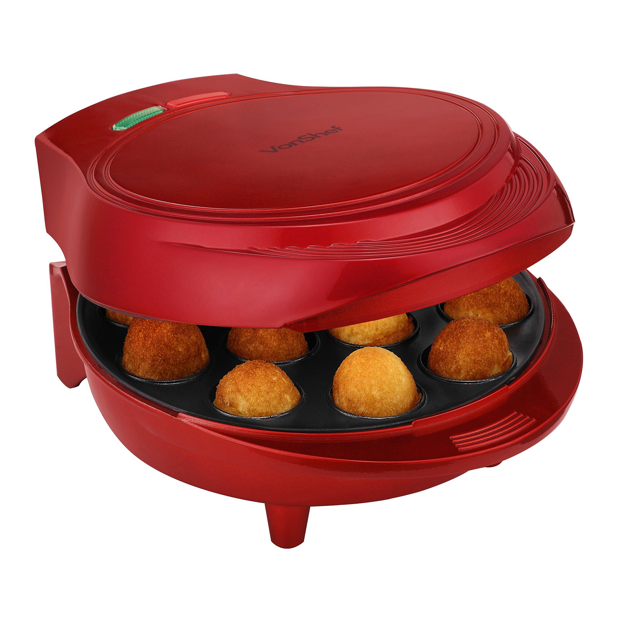 VonShef 12 Cake Pop Maker Machine Set Includes Sticks & Stand - Red by VonShef
