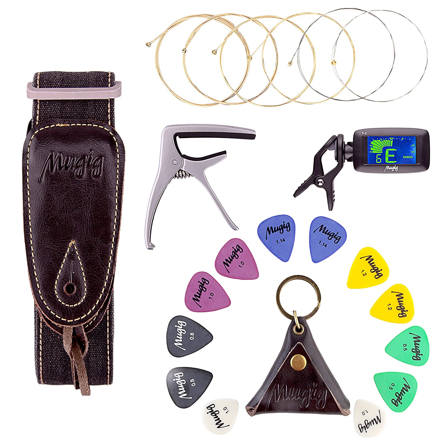 Mugig Guitar Accessories Kit with Tuner, Capo, Acoustic String, Straps and Picks Set with Leather Package JC-1