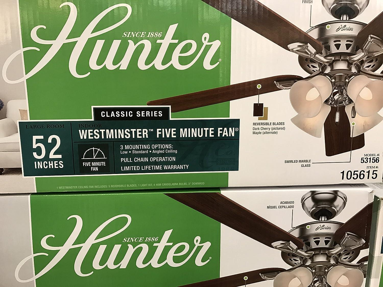 hunter 52 in westminster 5 minute fan brushed nickel ceiling fan rh amazon  com